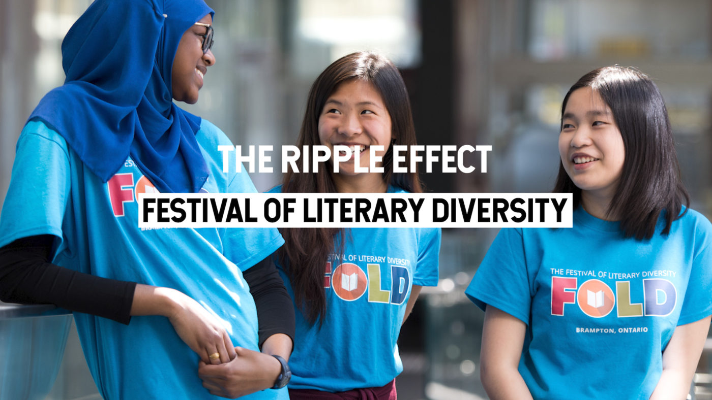"""A photo of three volunteers wearing FOLD t-shirts with text overlay saying """"The Ripple Effect: Festival of Literary Diversity"""""""
