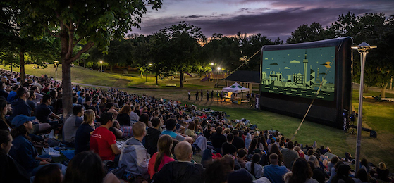 A large audience watches a film screening during the Christie Pits Film Festival, part of Toronto Outdoor Picture Show's Cinematic Cities program. (Photo: Diana Maclean)