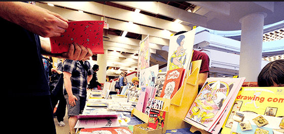 Small-press publisher Paper Rocket displays assorted books during the Toronto Comic Arts Festival at the Toronto Reference Library. (Photo courtesy of Toronto Public Library)