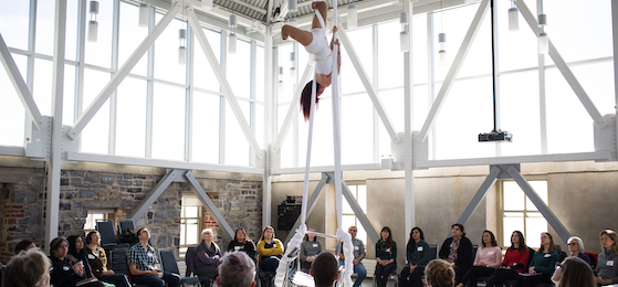 Circus artist Erin Ball delivers an aerial performance during a workshop hosted by the Kingston Arts Council at the Tett Centre for Creativity and Learning in Kingston. (Photo: Liz Cooper)