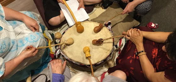 A drum circle recording session that was part of the Ancestral Call to Balance project led by Sandra Desjardins. (Photo: Sandra Desjardins)