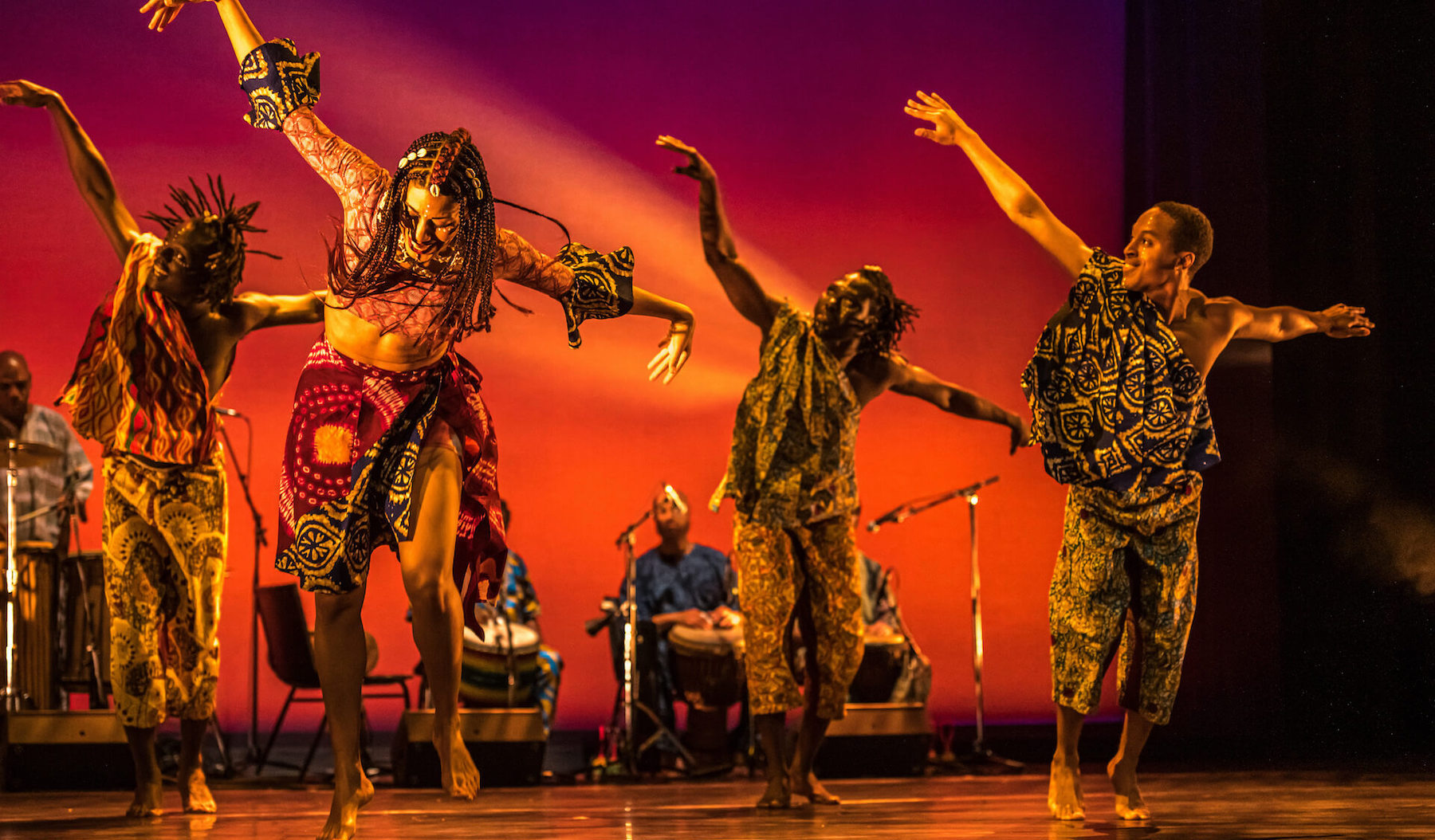 From left: Dancers Kwasi Obeng-Adjei, Lua Shayenne, Kahamilou Zongo and Shakeil Rollock of Lua Shayenne Dance Company perform KIRA, The Path | La Voie, presented during the Luminato Festival at the Fleck Dance Theatre in Toronto. (Photo: Dahlia Katz)